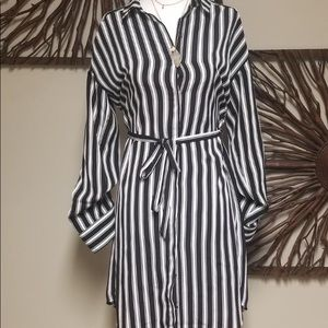 Black and White Dress with Belt.
